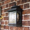 Large Bronze Finish Exterior Wall Lantern With Rain Glass