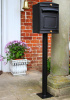 stafford rear opening post box black in front of house