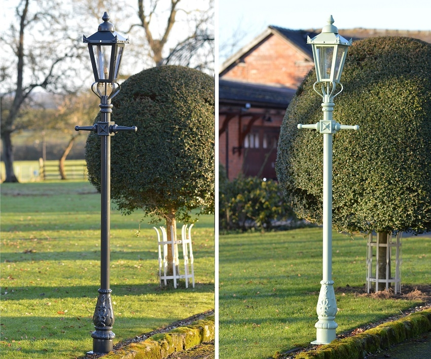 Hand Painted Green Garden Lamp Posts