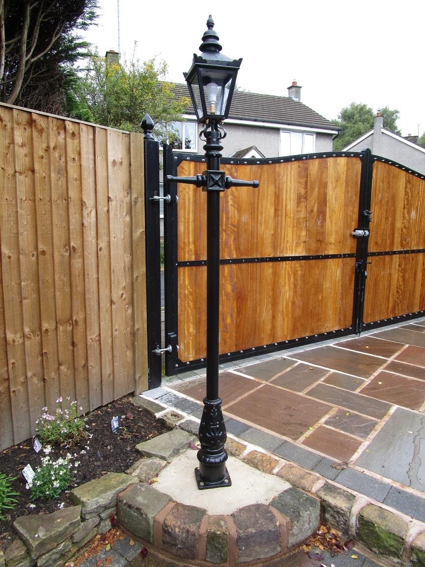 Garden Lamp Post Installed on Garden Patio